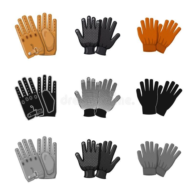 Vektorillustration av handsken och vintersymbolet Samling av illustrationen för handske- och utrustningmaterielvektor royaltyfri illustrationer