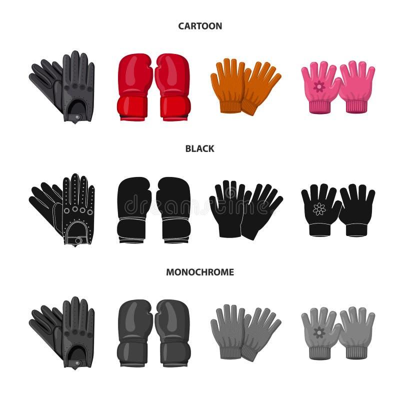 Vektorillustration av handsken och vintersymbolet Samling av illustrationen f?r handske- och utrustningmaterielvektor vektor illustrationer