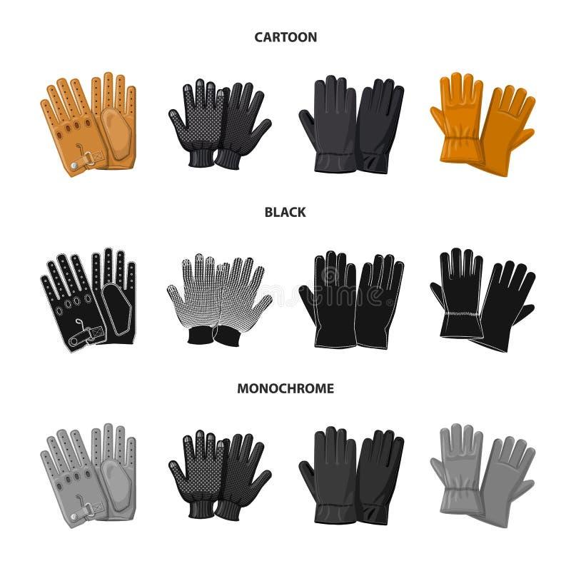 Vektorillustration av handsken och vintertecknet Samling av handske- och utrustningmaterielsymbolet f?r reng?ringsduk stock illustrationer