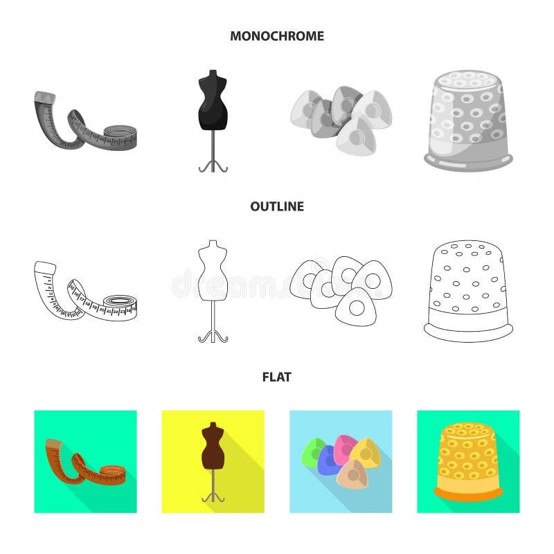 Vektorillustration av hantverket och att handcraft symbolen Samling av hantverk- och branschmaterielsymbolet f?r reng?ringsduk stock illustrationer