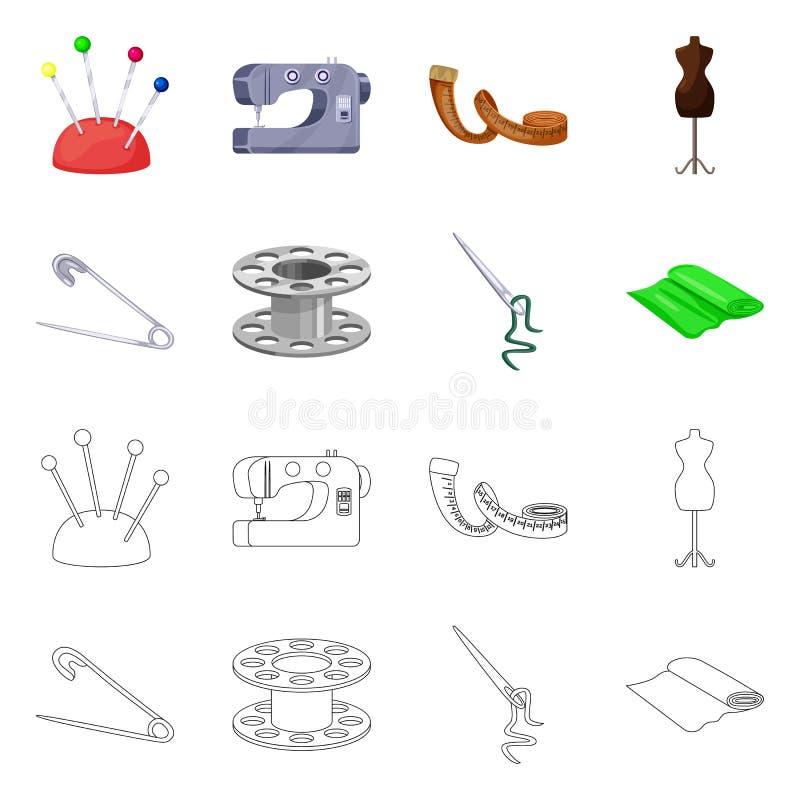 Vektorillustration av hantverket och att handcraft symbolen St?ll in av hantverk- och branschmaterielsymbolet f?r reng?ringsduk vektor illustrationer