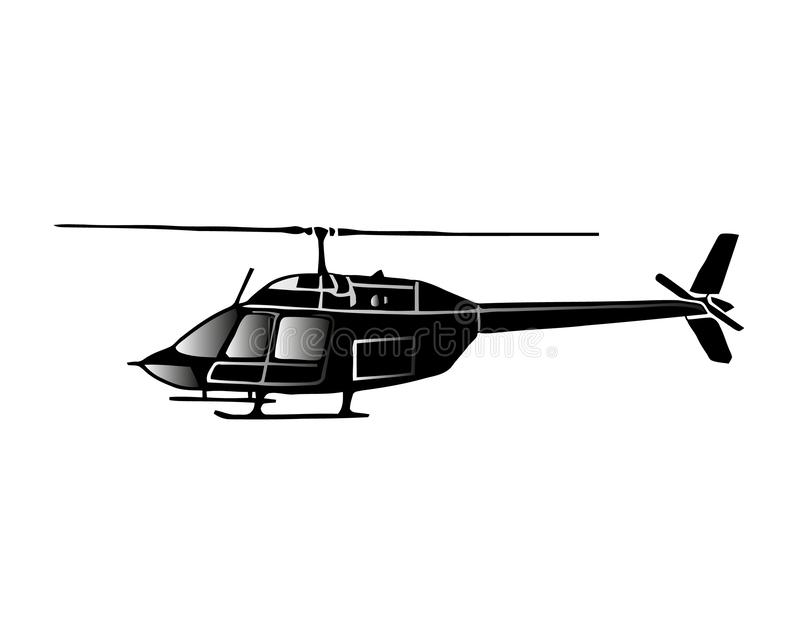 Vektorillustration av helikoptern i monokrom stock illustrationer