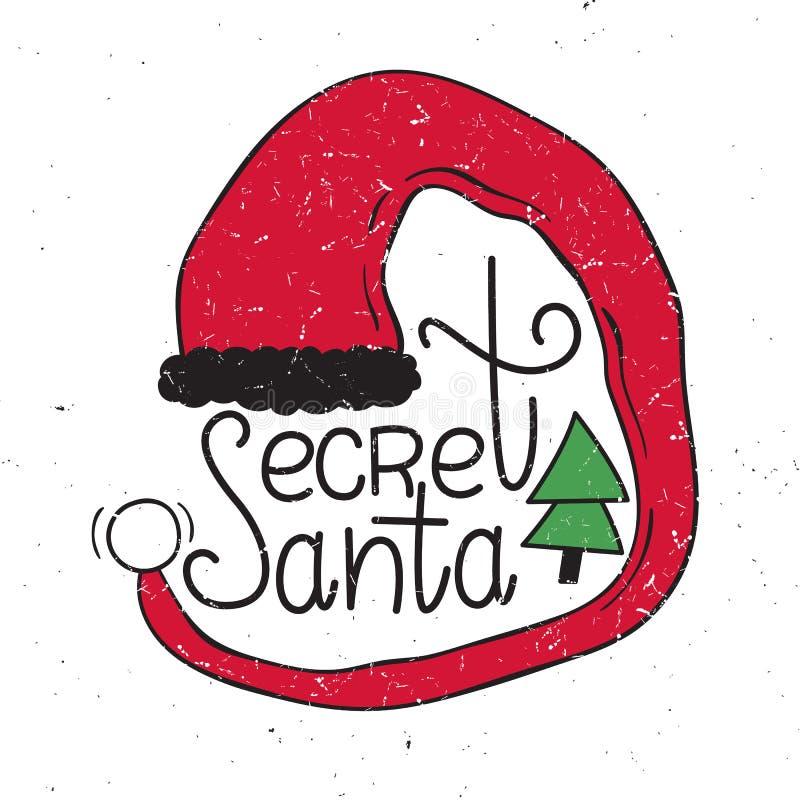 Vektorillustration av hemlig jultomten Hand-dragen stil Bakgrund för jul och för nytt år royaltyfri illustrationer