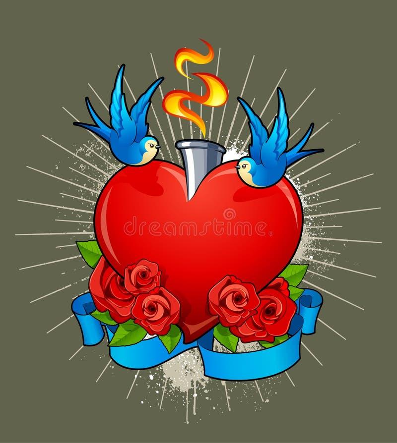 Vektorillustration av hjärta med fåglar stock illustrationer