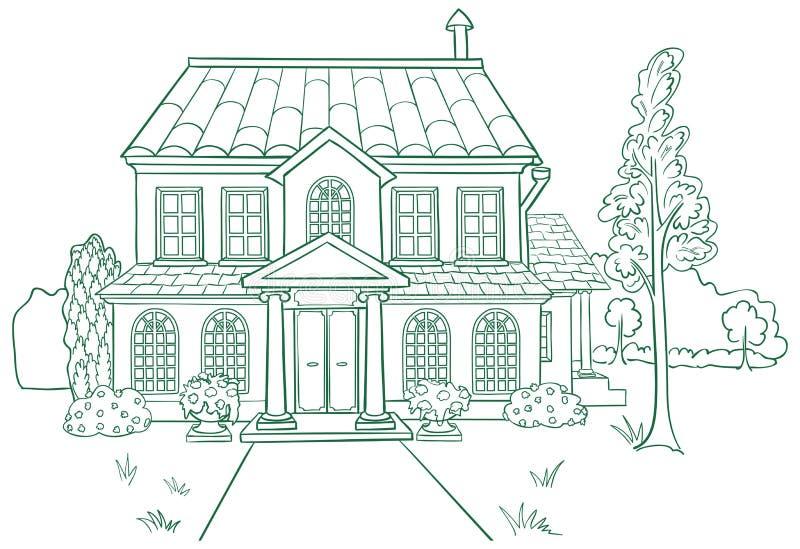Vektorillustration av huset stock illustrationer