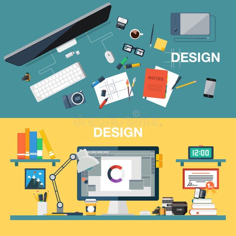Vektorillustration av idérik workspace för designkontor, märkes- arbetsplats Bästa sikt av skrivbordbakgrund med digitalt vektor illustrationer