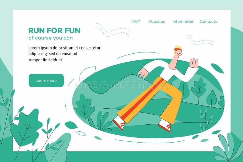 Vektorillustration av idrottsmannen som utomhus kör på websitemall royaltyfri illustrationer