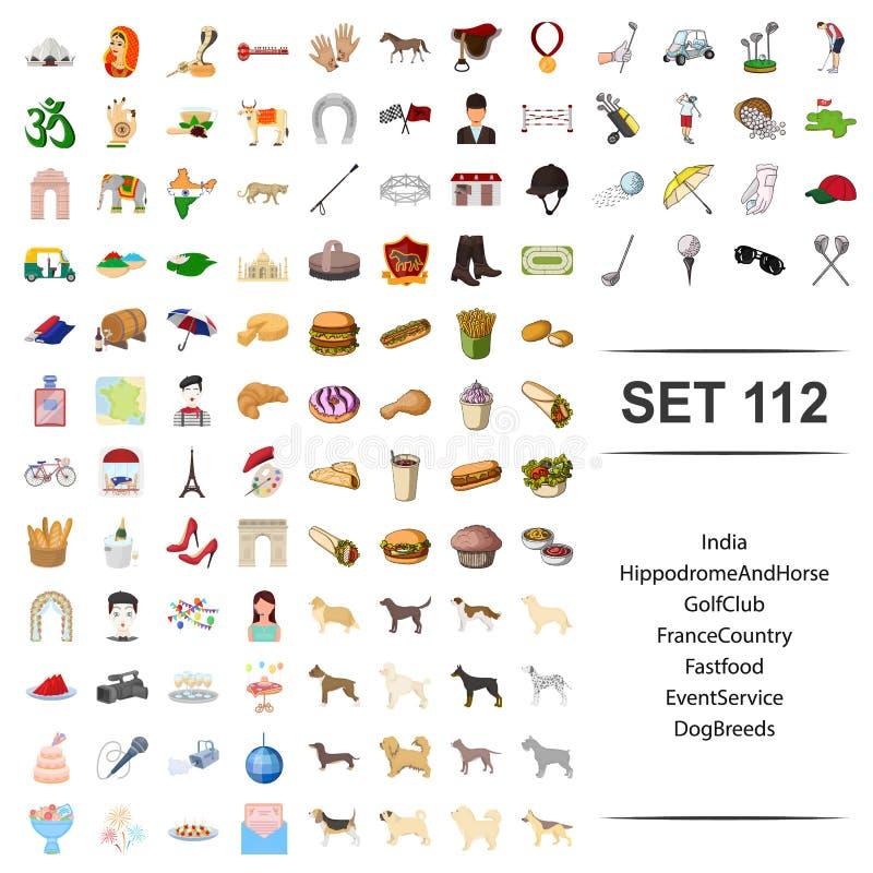 Vektorillustration av Indien, kapplöpningsbana, häst, golf, uppsättning för symbol för avel för hund för service för händelse för stock illustrationer