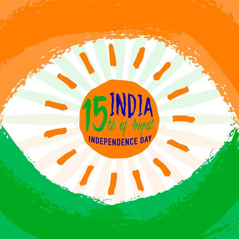 Vektorillustration av indisk bakgrund för flaggatemahälsning för den 15th august självständighetsdagen med det ljusa hjulet stock illustrationer