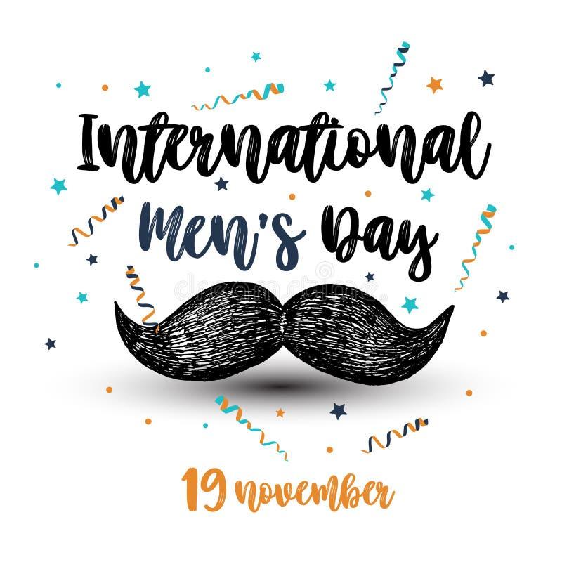 Vektorillustration av internationell mäns bakgrund för dag Handdrawmmustasch stock illustrationer