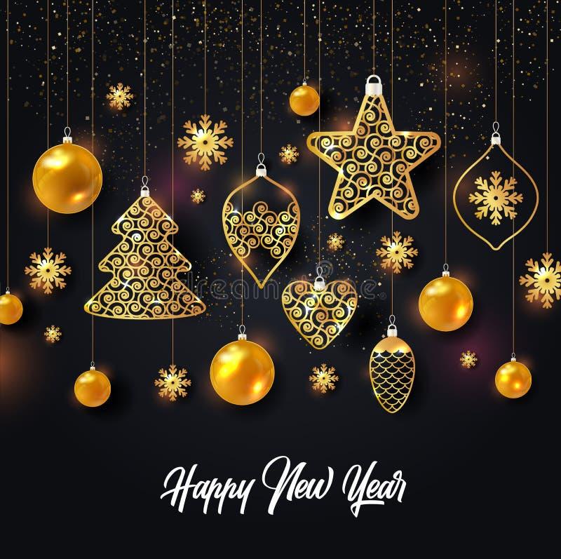 Vektorillustration av julbakgrund med guld för konfettier för snöflinga för julbollstjärna på svart färg royaltyfri illustrationer