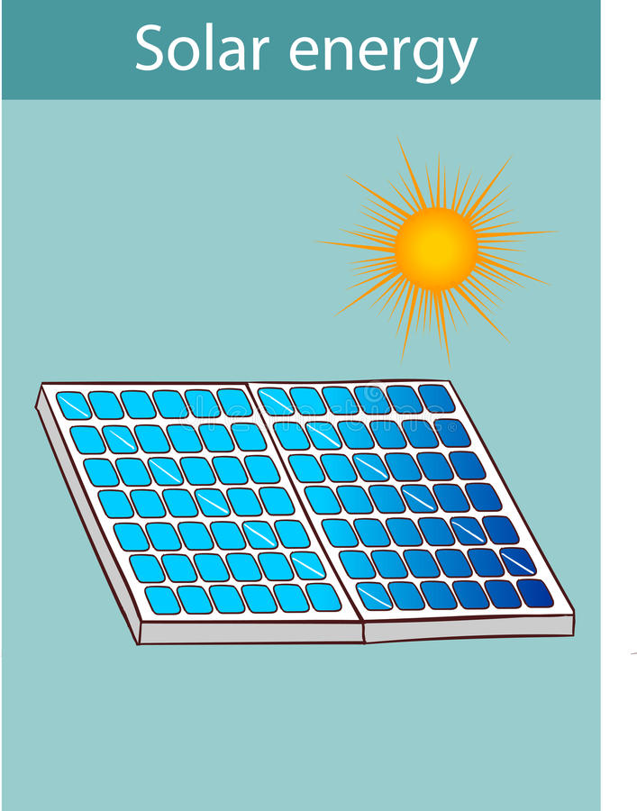 Vektorillustration av källor för en alternativ energi Sol- förse med rutor stock illustrationer