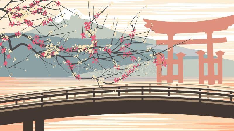 Vektorillustration av körsbärsröda blomningar mot bakgrund av mou stock illustrationer