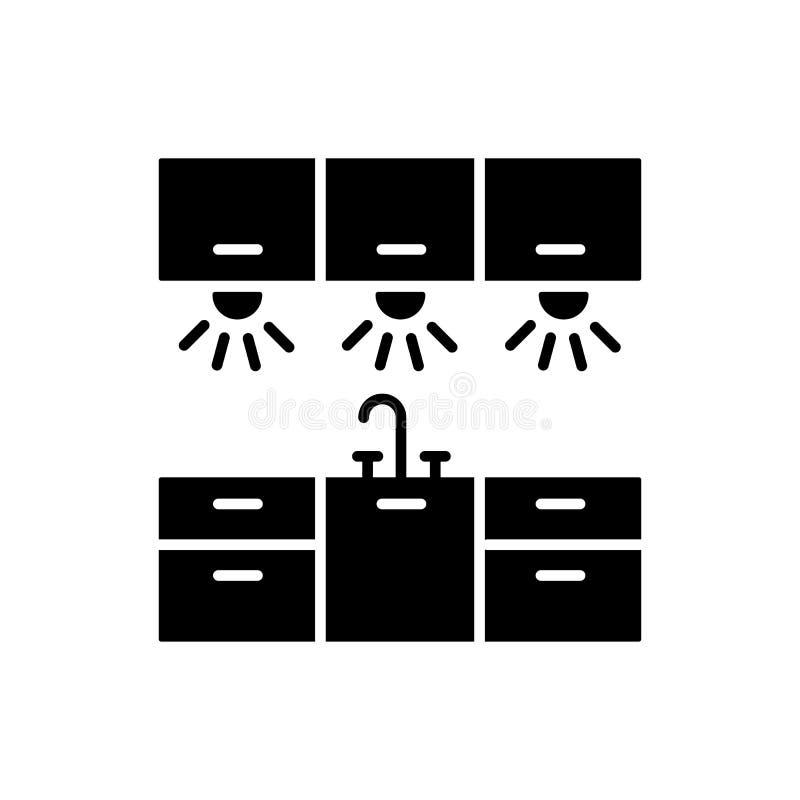 Vektorillustration av kabinett belysning Plan symbol av kök wo stock illustrationer