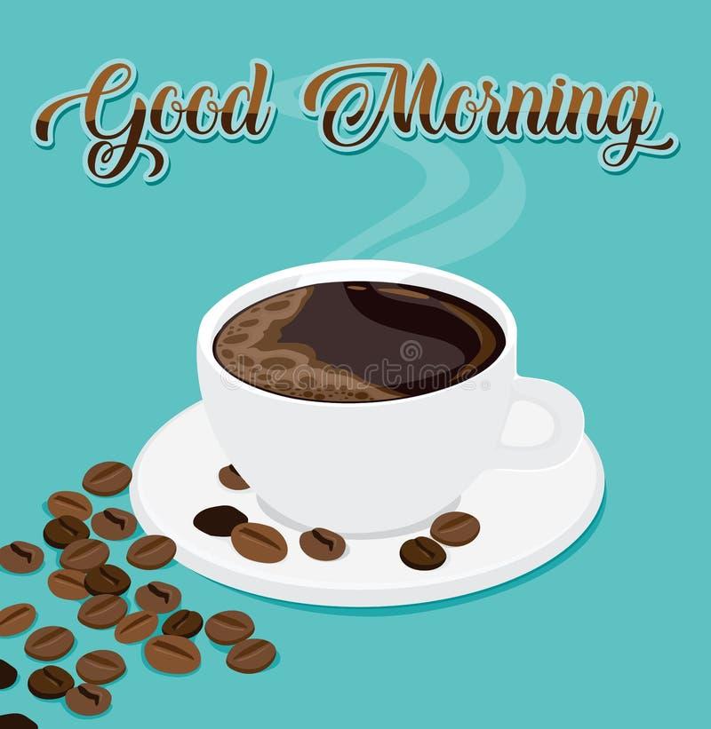 Vektorillustration av kaffe för bra morgon med kaffebönor stock illustrationer
