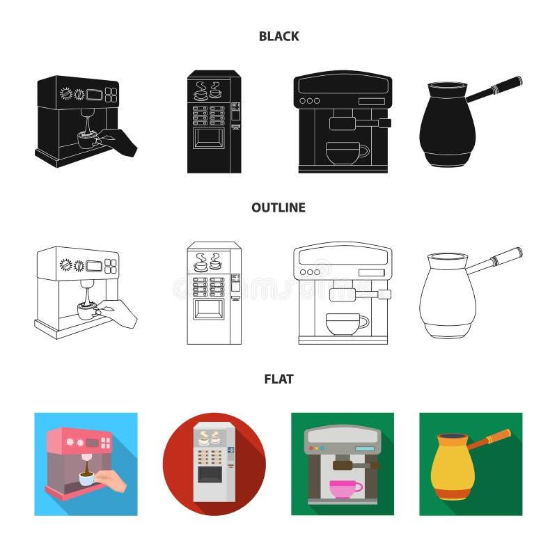 Vektorillustration av kaffe- och maskinsymbolen St?ll in av kaffe- och k?kvektorsymbolen f?r materiel royaltyfri illustrationer