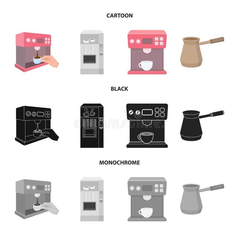 Vektorillustration av kaffe- och maskinsymbolet Samling av illustrationen f?r kaffe- och k?kmaterielvektor vektor illustrationer