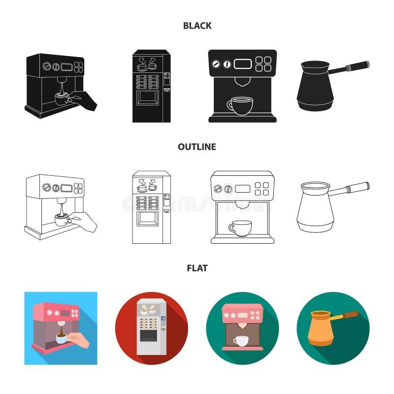 Vektorillustration av kaffe- och maskintecknet Samling av kaffe- och k?kvektorsymbolen f?r materiel vektor illustrationer