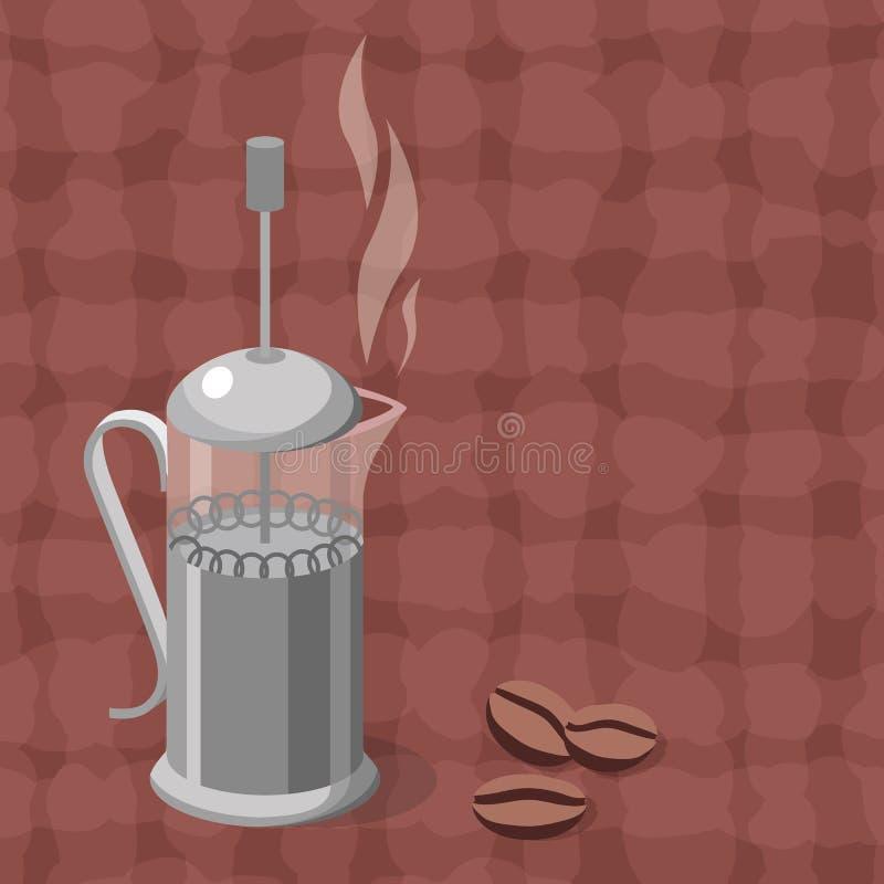 Vektorillustration av kaffepress stock illustrationer