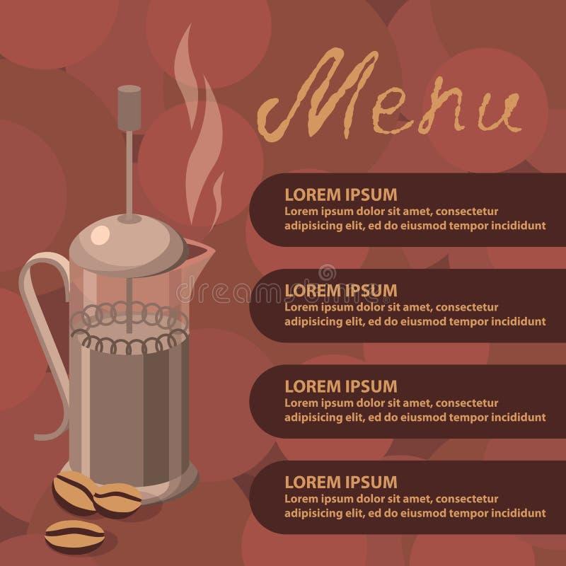 Vektorillustration av kaffepress royaltyfri illustrationer
