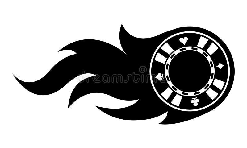 Vektorillustration av kasinopokerchipen med flammor royaltyfri illustrationer