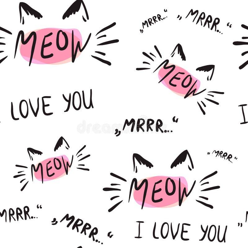 Vektorillustration av kattungekalligrafitecknet för tryck stock illustrationer