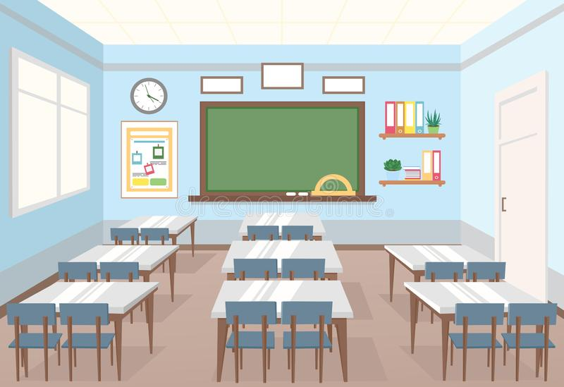 Vektorillustration av klassrumet i skola Tom inre av grupp med brädet och skrivbord för barn i plan tecknad film royaltyfri illustrationer