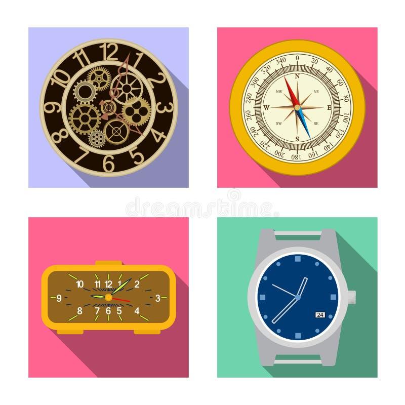 Vektorillustration av klockan och tidsymbolen Samling av klocka- och cirkelvektorsymbolen för materiel vektor illustrationer