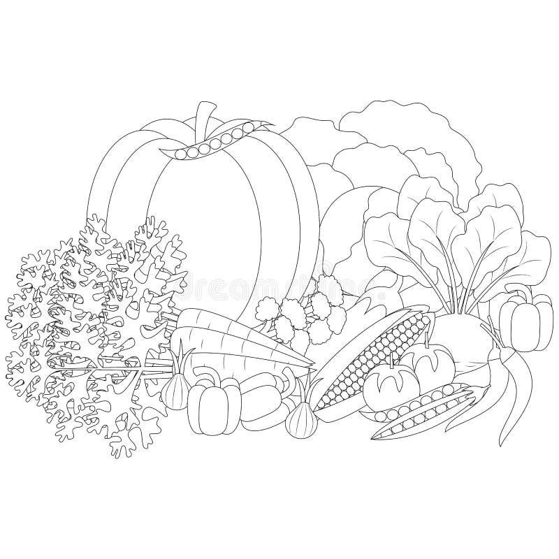 Vektorillustration av klottergrönsaker, anti--spänning färgläggning stock illustrationer