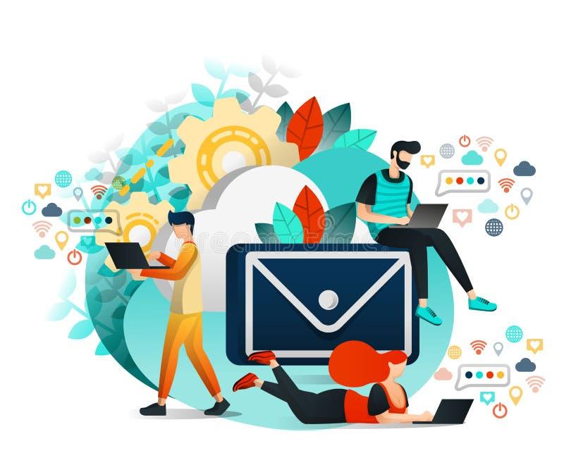 Vektorillustration av kommunikationen och internet, grupp människor som som meddelar, lär och arbetar med de Barn royaltyfri illustrationer