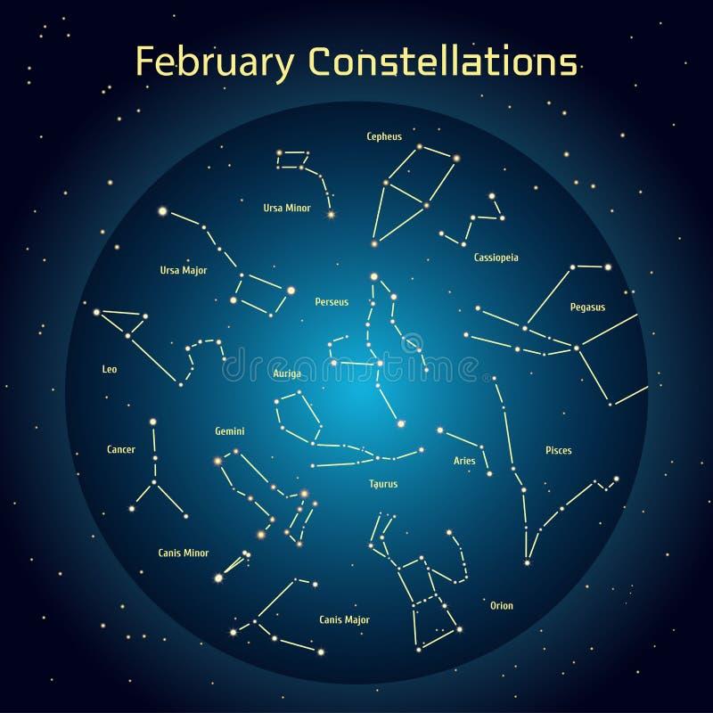 Vektorillustration av konstellationerna av natthimlen i Februari stock illustrationer