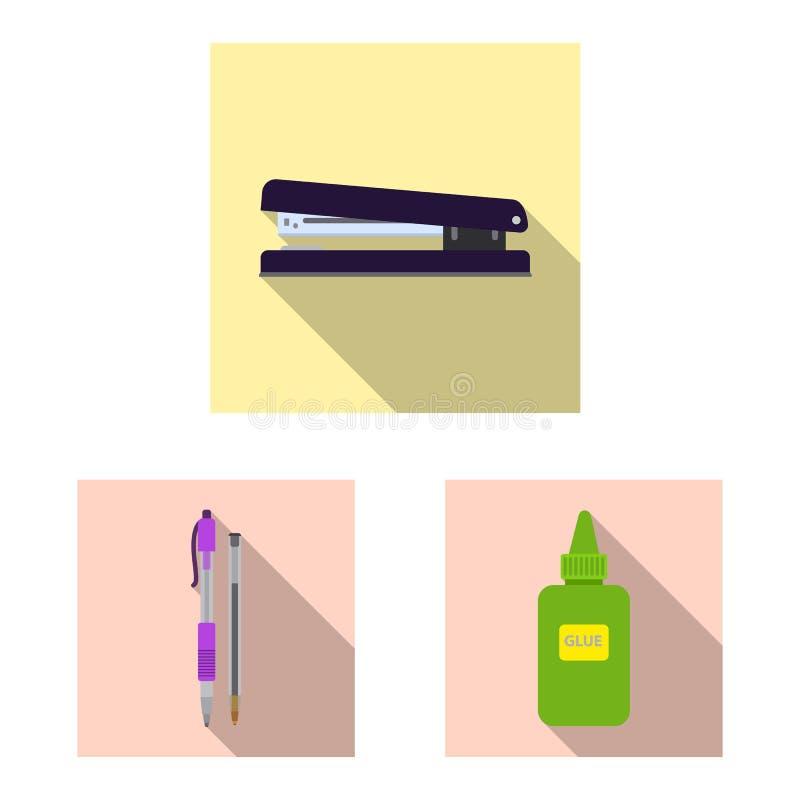 Vektorillustration av kontors- och tillf?rseltecknet Upps?ttning av kontors- och skolavektorsymbolen f?r materiel stock illustrationer