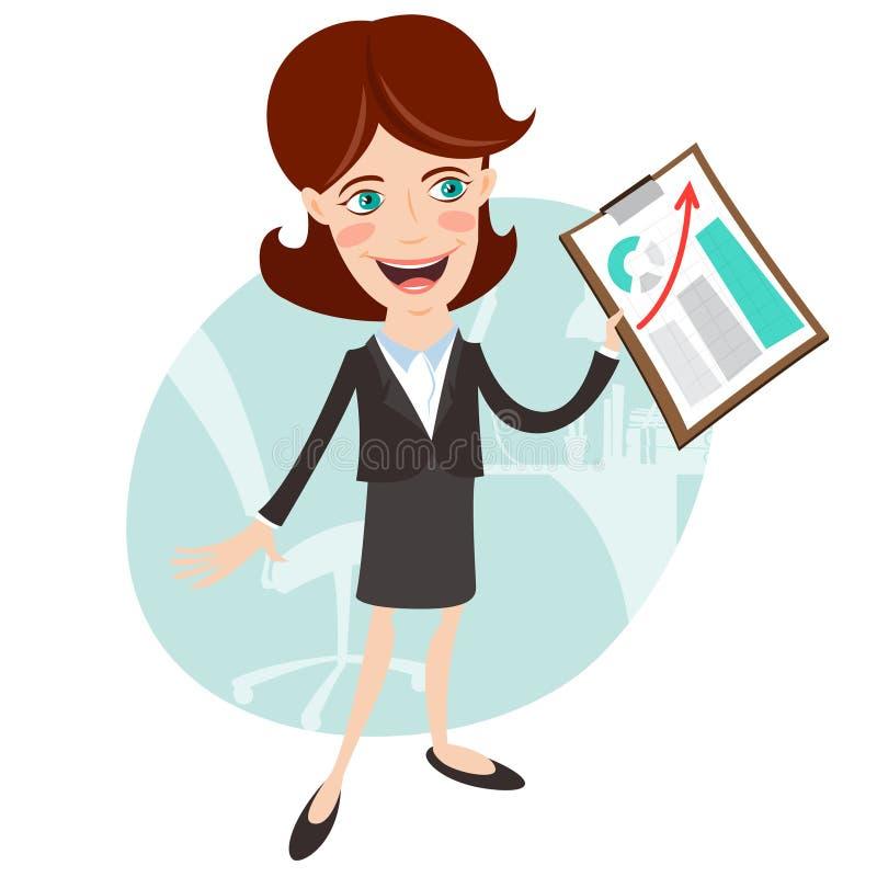 Vektorillustration av kontorskvinnan som visar en graf stock illustrationer