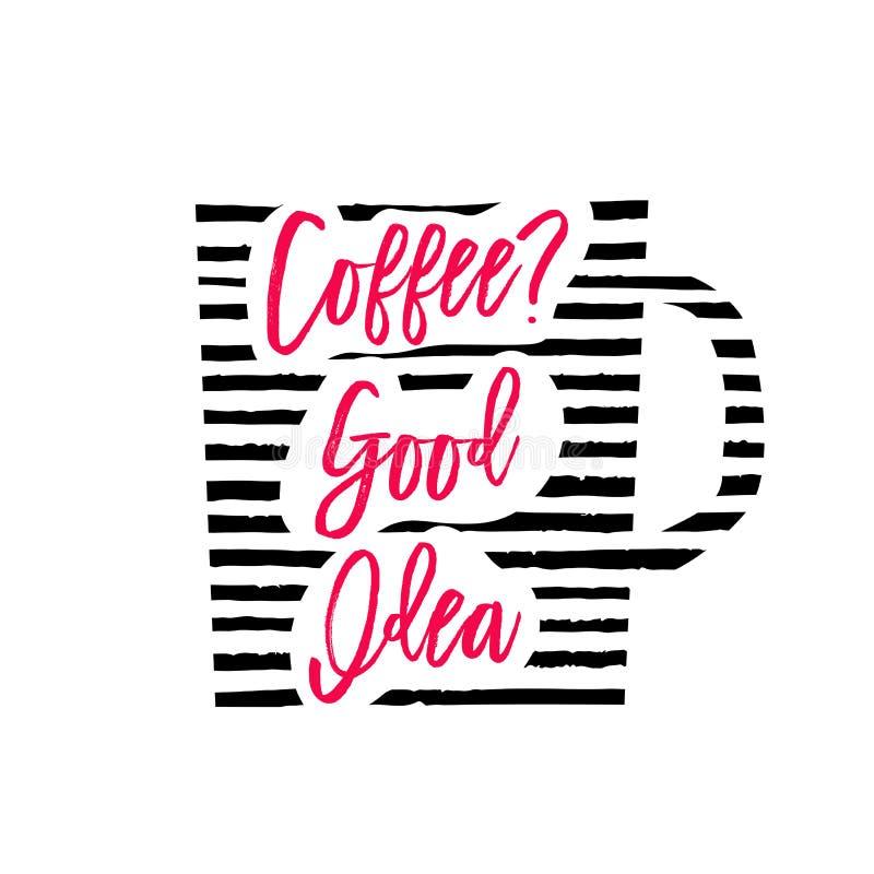 Vektorillustration av konturn för kaffekopp med band och bokstäver royaltyfri illustrationer