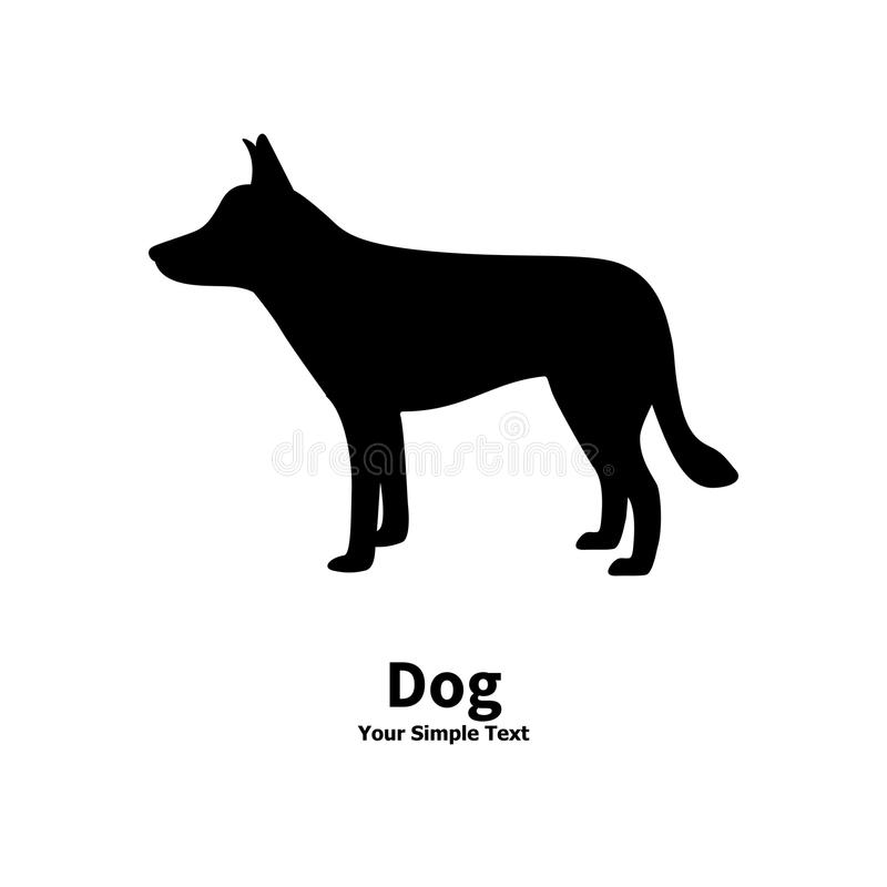 Vektorillustration av konturn för svart hund royaltyfri illustrationer
