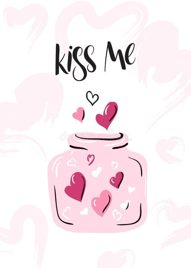 Vektorillustration av kortet för hälsningar för dag för valentin` s med handbokstäveretiketten - kyssa mig - med hjärtor i en kru stock illustrationer