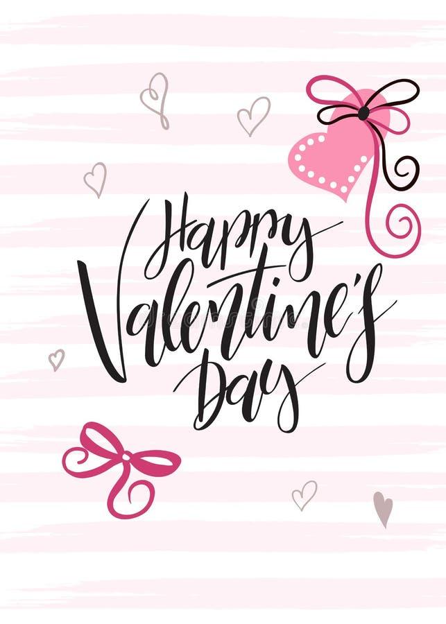 Vektorillustration av kortet för hälsningar för dag för valentin` s med handbokstäveretiketten - lycklig dag för valentin` s - me royaltyfri illustrationer