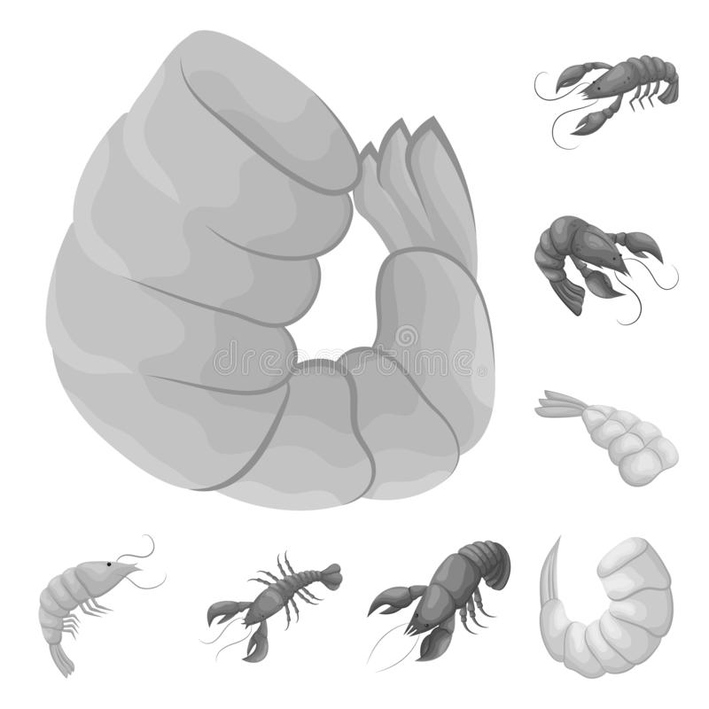Vektorillustration av krabba- och aptitretarelogoen Samling av illustrationen f?r krabba- och havsmaterielvektor royaltyfri illustrationer