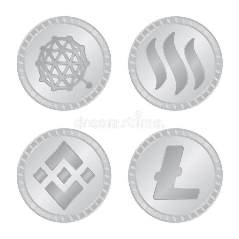 Vektorillustration av kryptografi- och finanslogoen Samling av den kryptografi- och e-affär materielvektorn vektor illustrationer