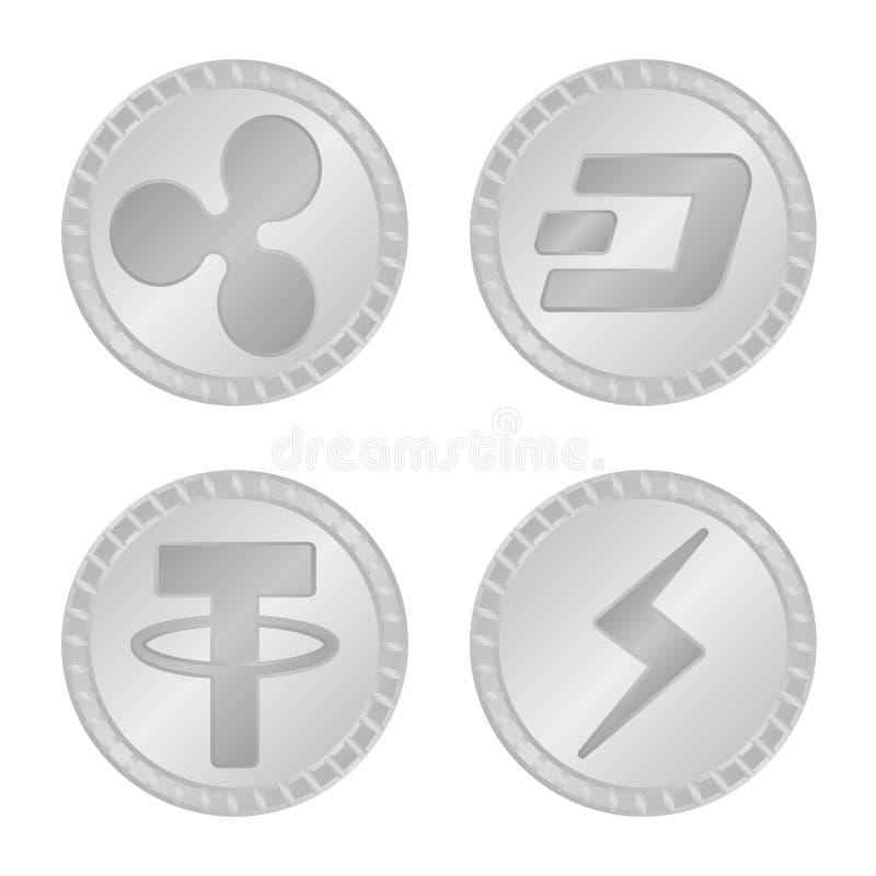 Vektorillustration av kryptografi- och finanslogoen Samling av det kryptografi- och e-affär materielsymbolet för rengöringsduk stock illustrationer