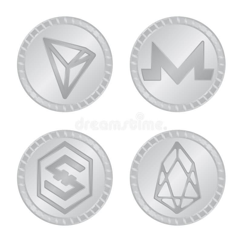 Vektorillustration av kryptografi- och finanslogoen Ställ in av illustration för kryptografi- och e-affär materielvektor stock illustrationer