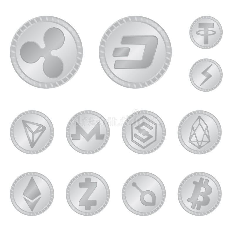 Vektorillustration av kryptografi- och finanssymbolet Ställ in av den kryptografi- och e-affären vektorsymbolen för materiel vektor illustrationer