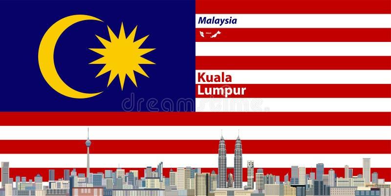 Vektorillustration av Kuala Lumpur stadshorisont med flaggan av Malaysia på bakgrund vektor illustrationer