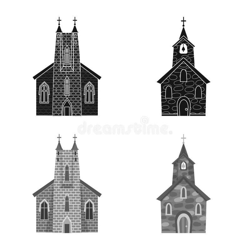 Vektorillustration av kult och tempellogoen St?ll in av kult och f?rsamlingvektorsymbolen f?r materiel royaltyfri illustrationer