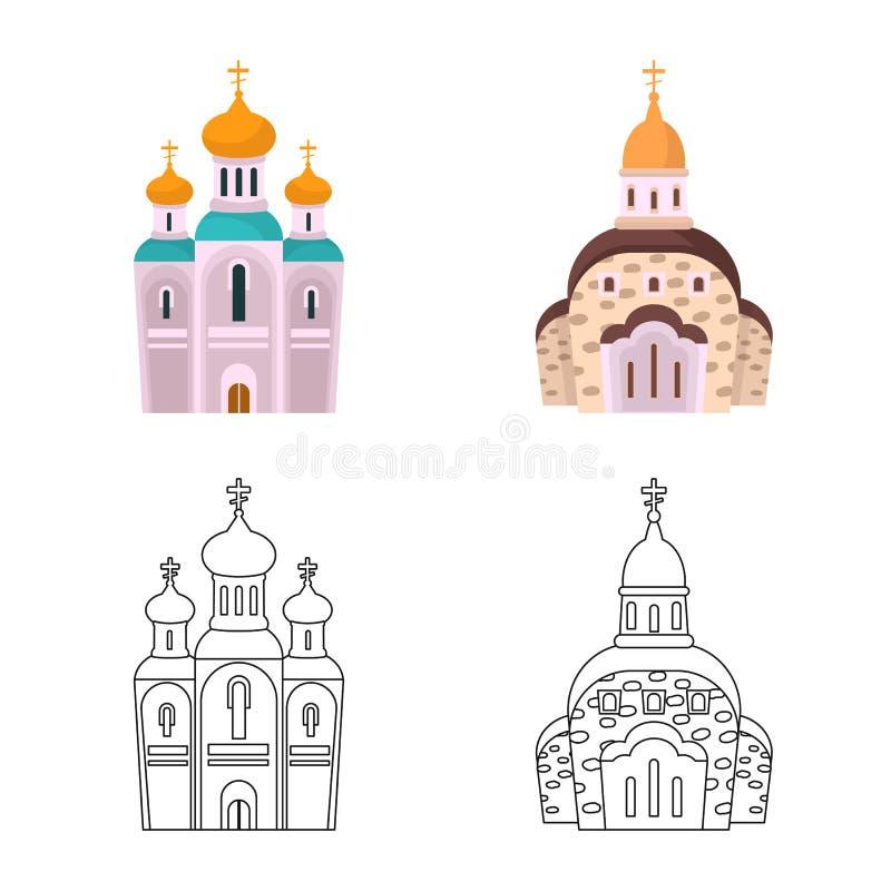 Vektorillustration av kult och tempelsymbolet Samling av kult och illustrationen f?r f?rsamlingmaterielvektor vektor illustrationer