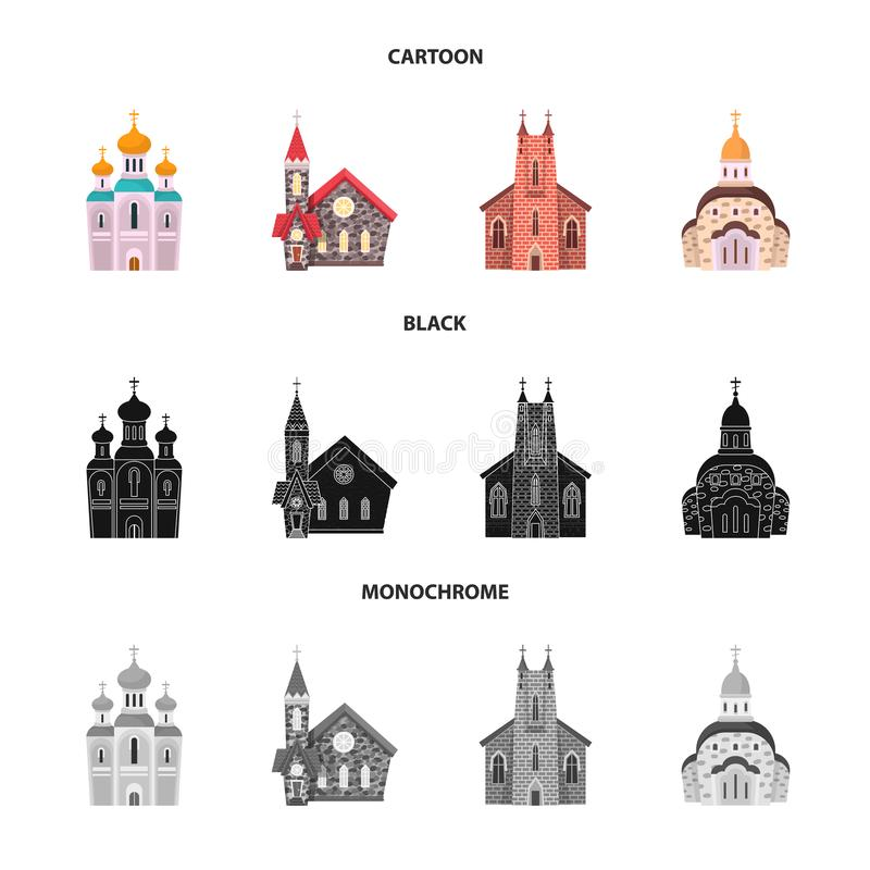 Vektorillustration av kult och tempelsymbolet St?ll in av kult och f?rsamlingvektorsymbolen f?r materiel royaltyfri illustrationer