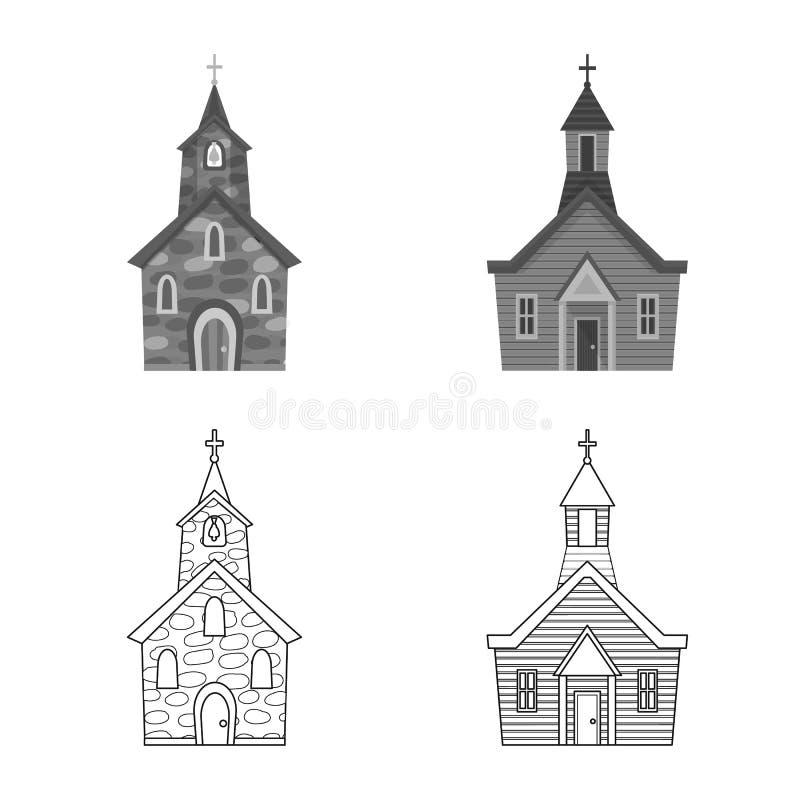 Vektorillustration av kult och tempeltecknet Samling av kult och illustrationen f?r f?rsamlingmaterielvektor stock illustrationer