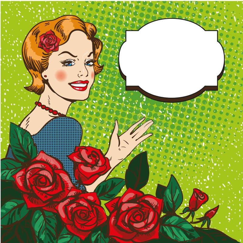 Vektorillustration av kvinnan med rosbuketten, stil för popkonst vektor illustrationer