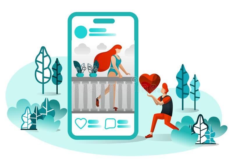 Vektorillustration av långdistans- romans, Romeo Juliet 4 0 socialt massmedia, teknologi, andra århundradeförälskelse, website, U stock illustrationer