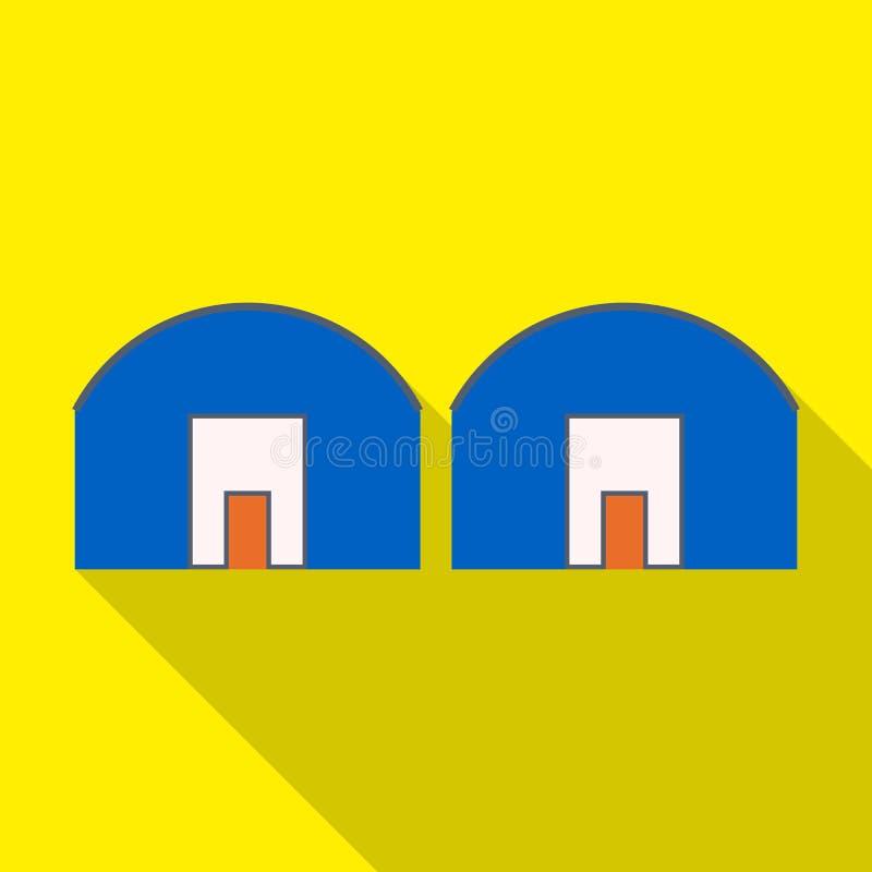 Vektorillustration av lager- och magasinsymbolet Ställ in av lager- och fabriksmaterielsymbolet för rengöringsduk vektor illustrationer